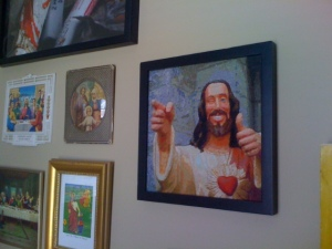 Buddy Christ, needlepoint by the amazing Claire Booth