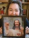 Buddy Christ in needlepoint by Claire Booth